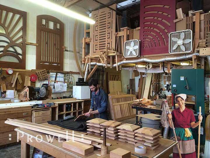 photo of the shop making cedar post caps