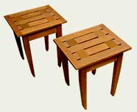 wood bench end tables
