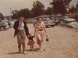 1950--Charles' parents arriving at southern Illinois' Big Ridge Baptist Church.