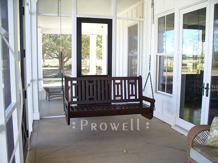 Wood front porch swing in Alabama