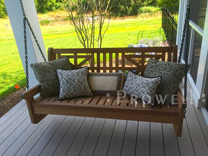 custom wood porch swing #5-3 in Rohoboth beach, Delaware. Prowell woodworks