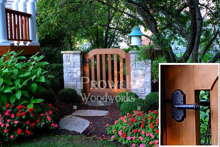 custom wood gate with bronze gate latch E701