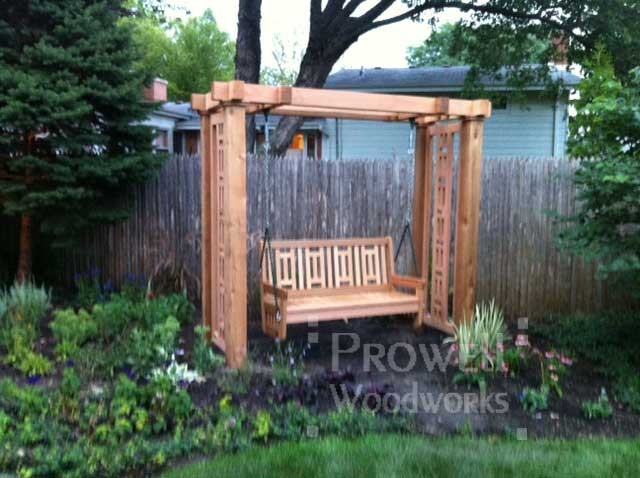 Custom wood outdoor swing stand #1 in palo alto, ca. orowell woodworks