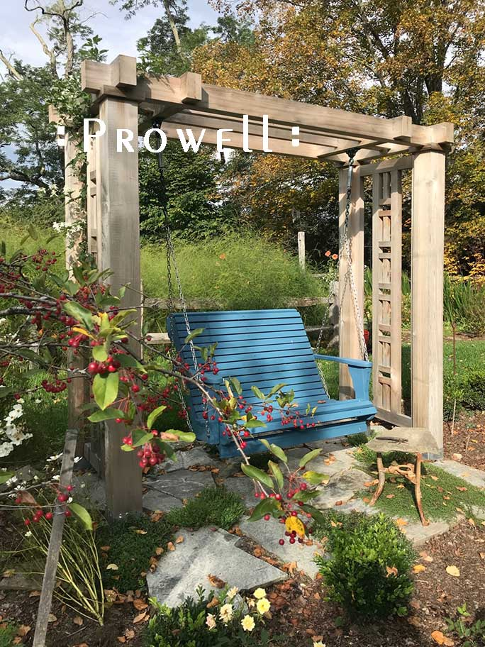 custom wood outdoor swing stand in new hampshire. prowell