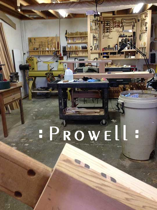 shop progress photo showing the wood joinery for the unusual garden gate #208.