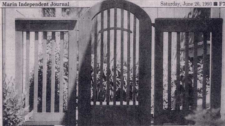 cropped photos of the Independent Journal newspaper featuring a Prowell garden gate