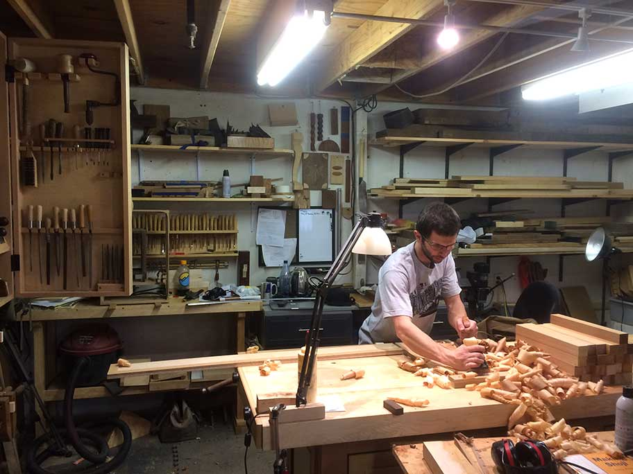 Ben Prowell with hand-plane shavings