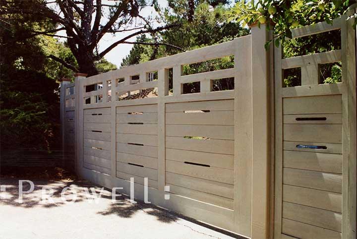 site photograph showing the horizontal driveway gates #11 in san anselmo, californiaRach style wood driveway gates