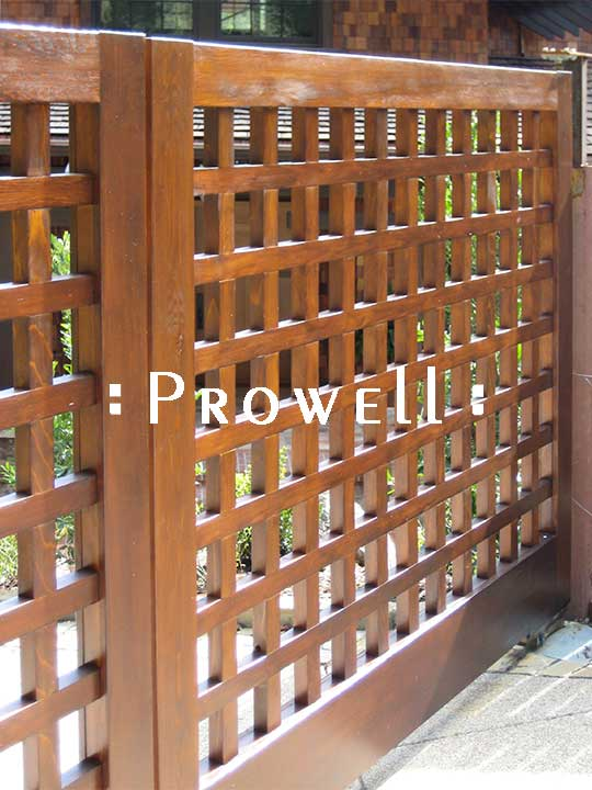 Wood Driveway Gates with open grids