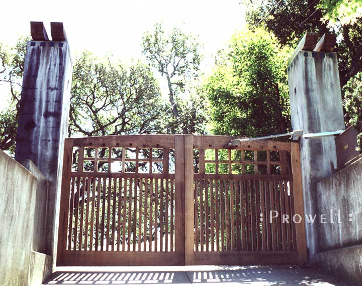 custom wood driveway gate #16-1 in marin county, ca. prowell