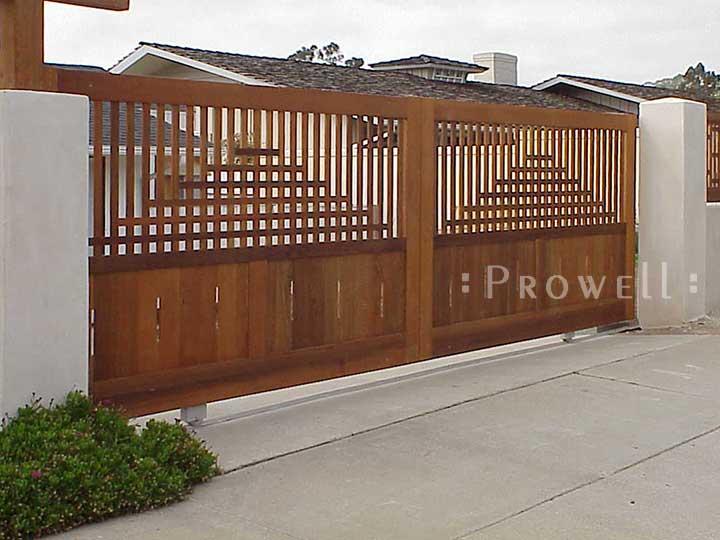 custom wood driveway gate #24 in LaJolla, CA