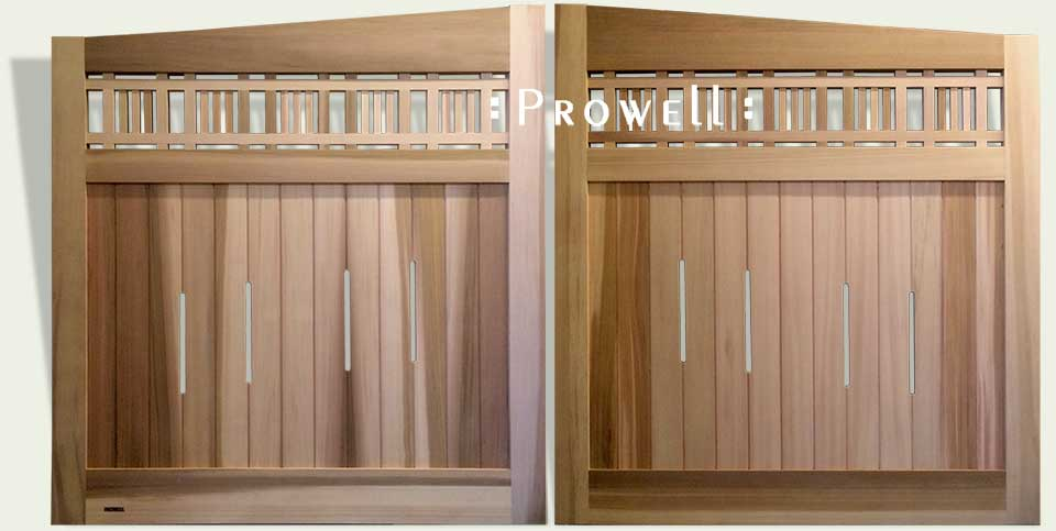 custom wood driveway gates in Pasadena from Prowell