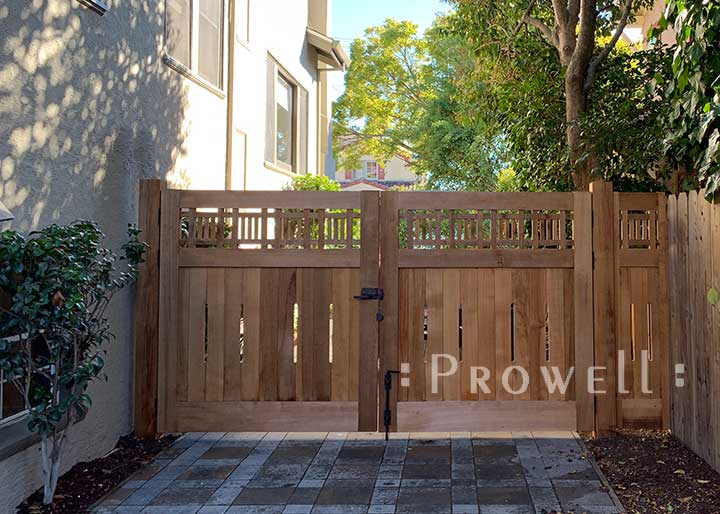 double wood driveway gate in Oakland. prowell