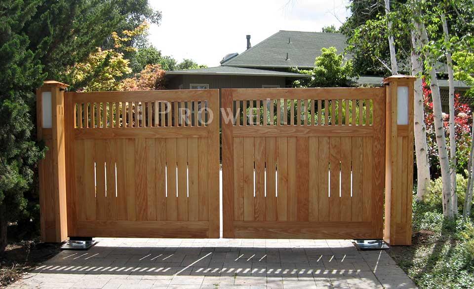 custom wood driveway gates in Silicone Valley, CA