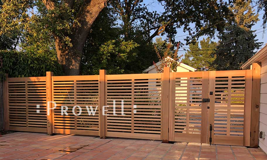 On-site photograph showing horizontal wood gates #98 and matching fence #10 in Sonoma, California