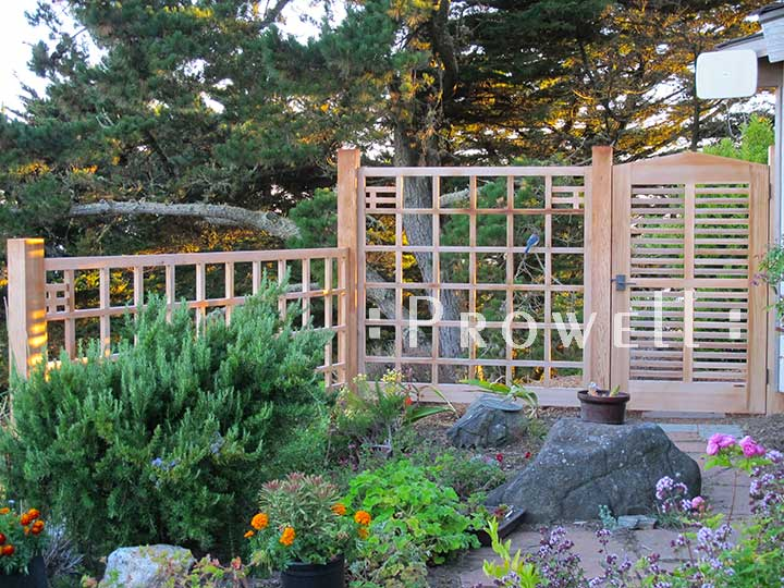 custom wood fence Panels in Marin County's Muir Beach