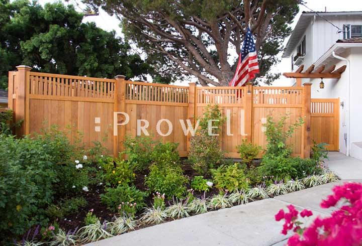 custom wood garden fence #1-4b in San Diego. prowell