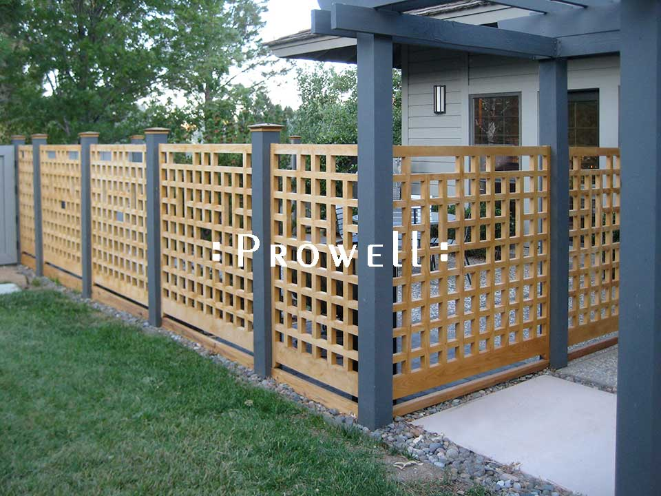 wood fence panels with grids in Reno, Nevada
