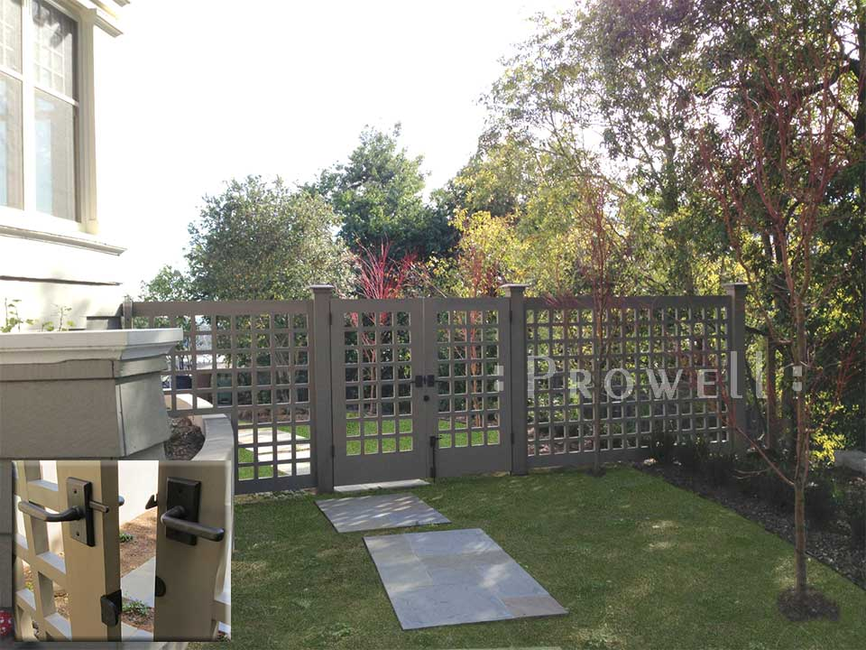 custom wood fence panels with open grids