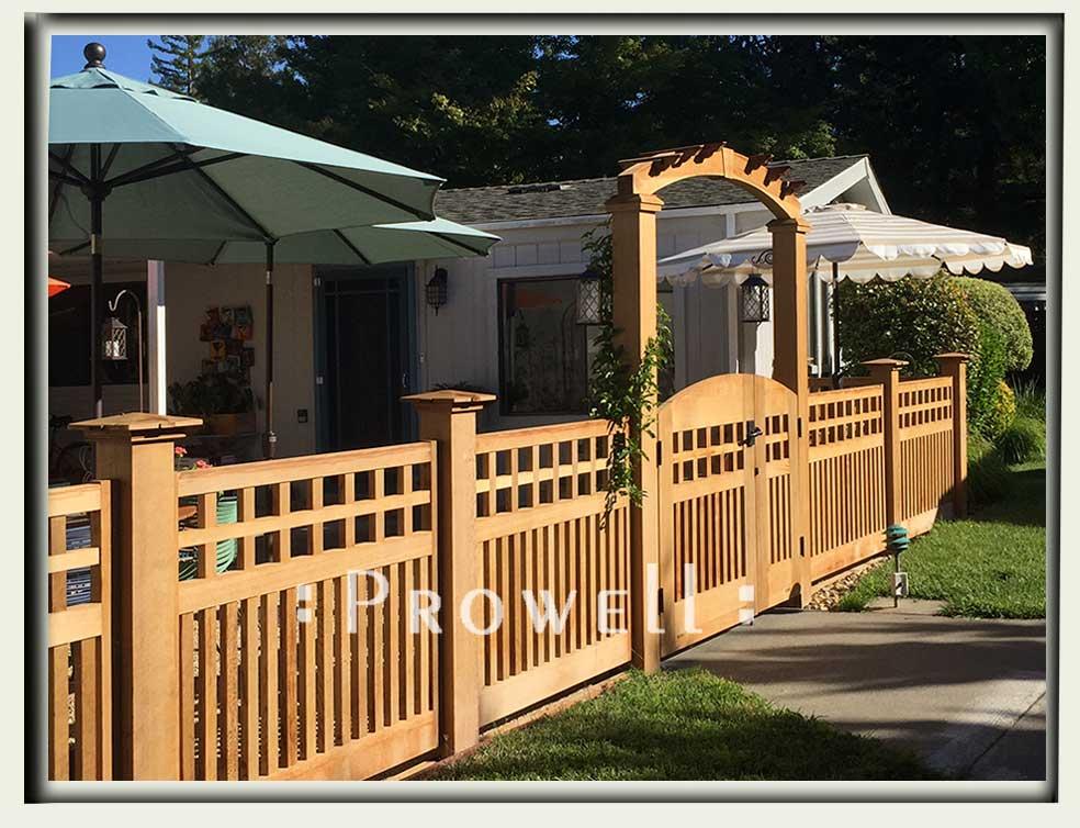 custom wood garden fence #22-6 in Napa County, CA. prowell