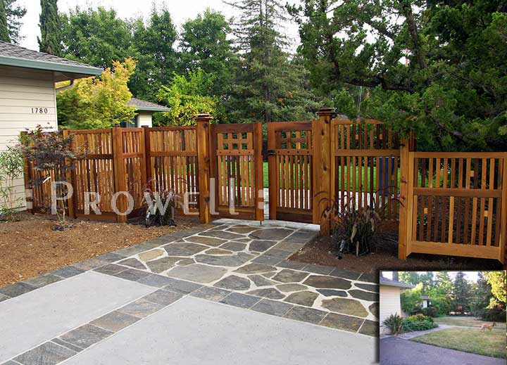 custom wood fence panel #1-6 in the Silicone Valley, CA