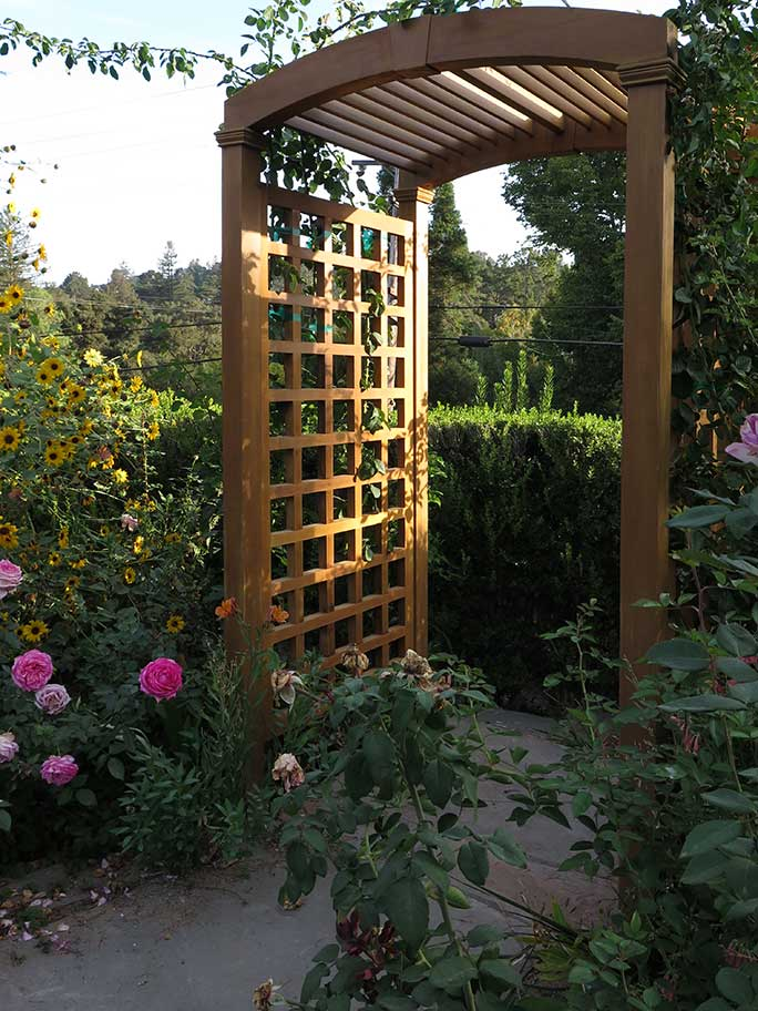custom wood arched arbor #15-5g. prowell