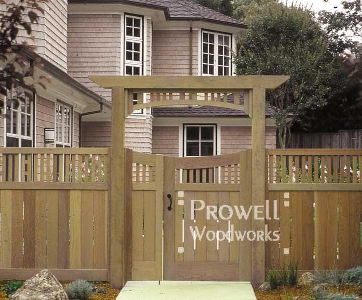 custom wood arbor #1-6 and wood garden gate #17