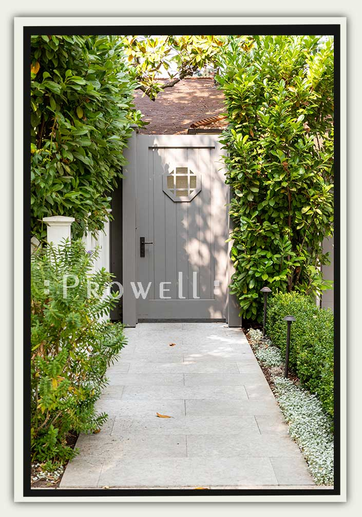 site photo showing wooden gate with window #102 in palo Alto, california