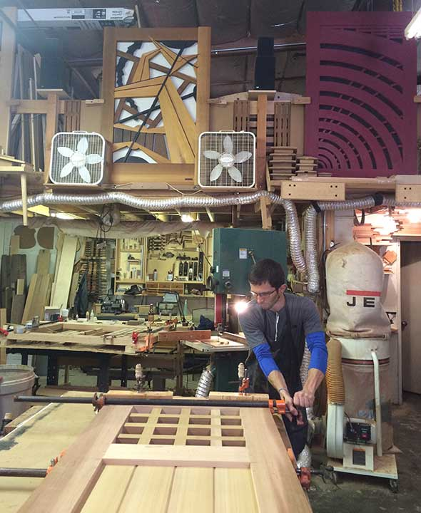 photograph in the woodworking shop showing how to build gate 103