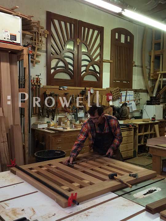 photograph in the woodworking shop showing how to build gate #114