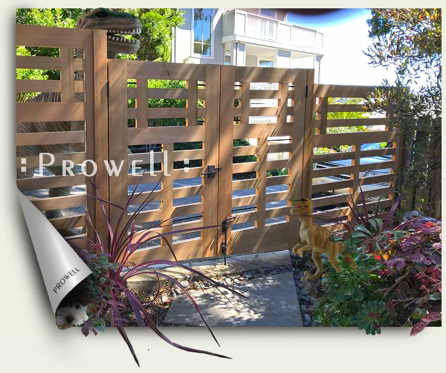 site photograph showing custom wood gates #114-5 in Marin County, California