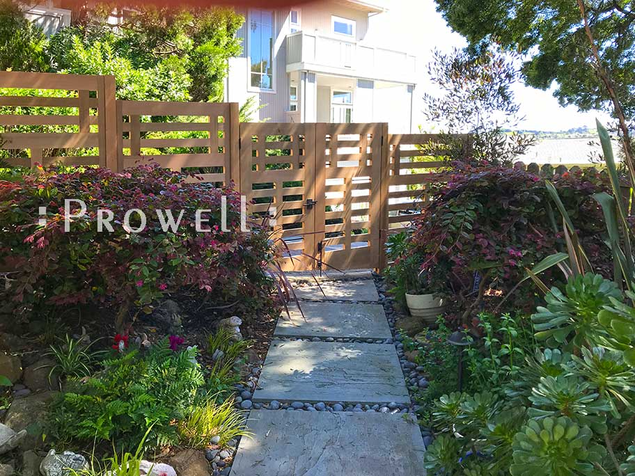 site photograph showing the double wooden gates #114-5 on a sloping grade in Marin County, California