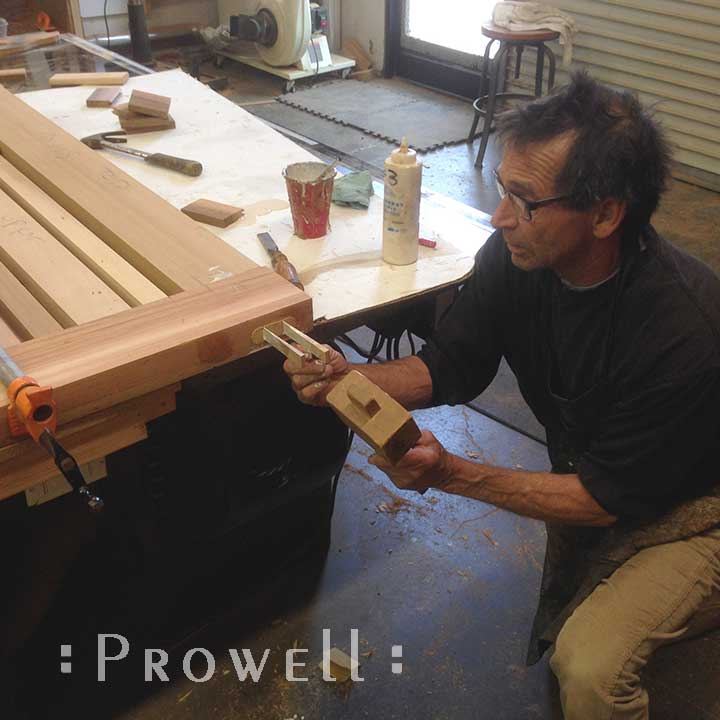 shop photo showing the primary joinery for wooden gates #115