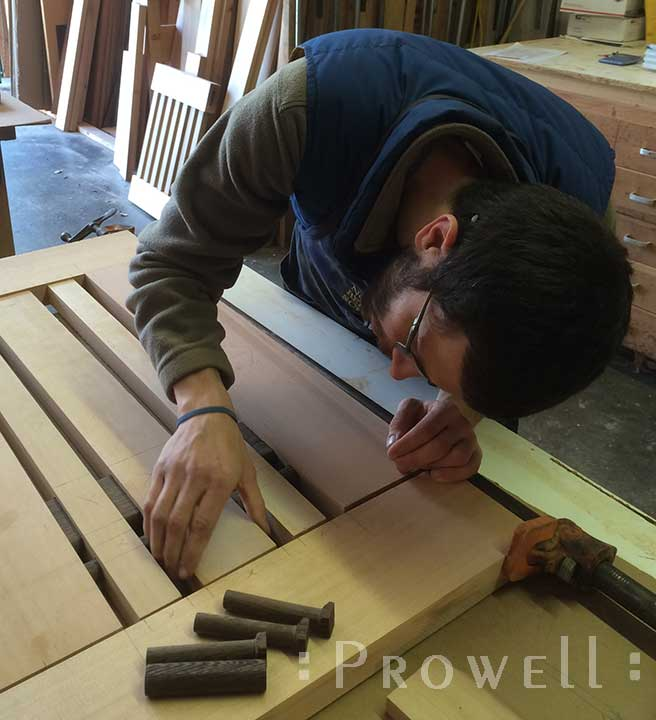 Shop photo showing how to align the upper tenons for a wood gate #115