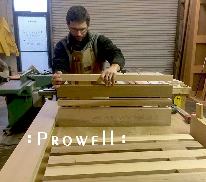photo in the wood shop showing the assembly of modern gate #115.