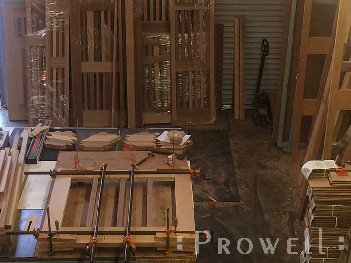 Shop photo showing how to build a Chevron pattern wood gate. prowell