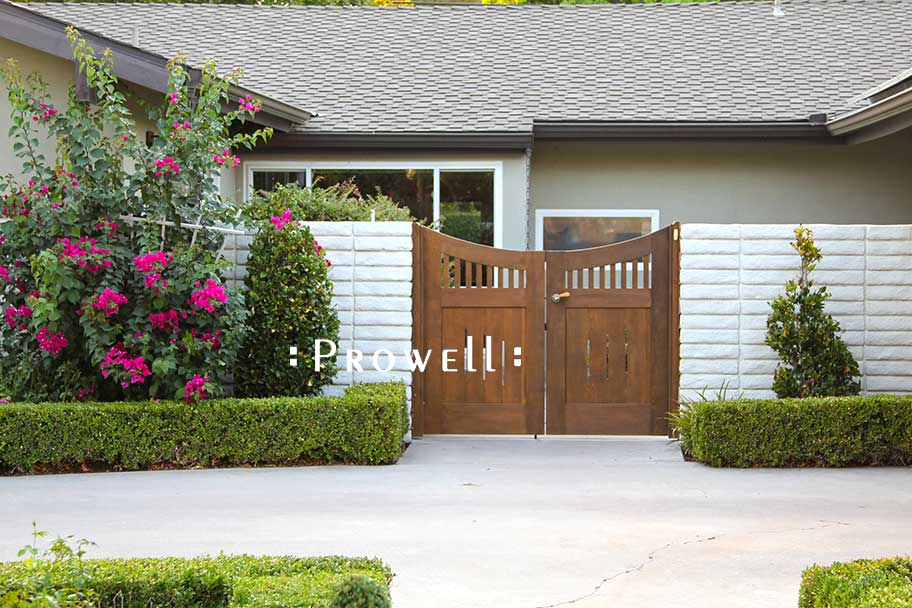 on site image of curved wooden gates #17-2 in Bakersfield, californiadouble wood gate #17, Prowell