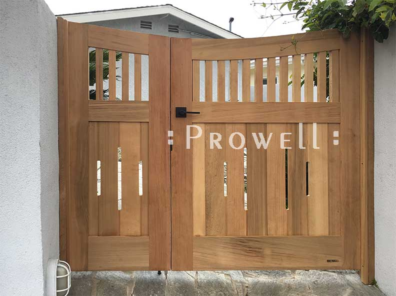 showing Double Off-set curved wooden gates #17-4 in Laguna beach, california