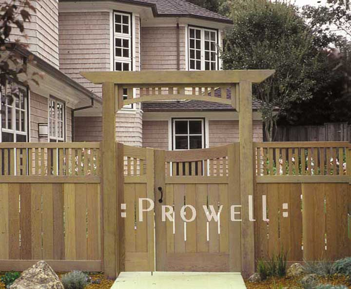 arching double wooden garden gate in marin county, CA