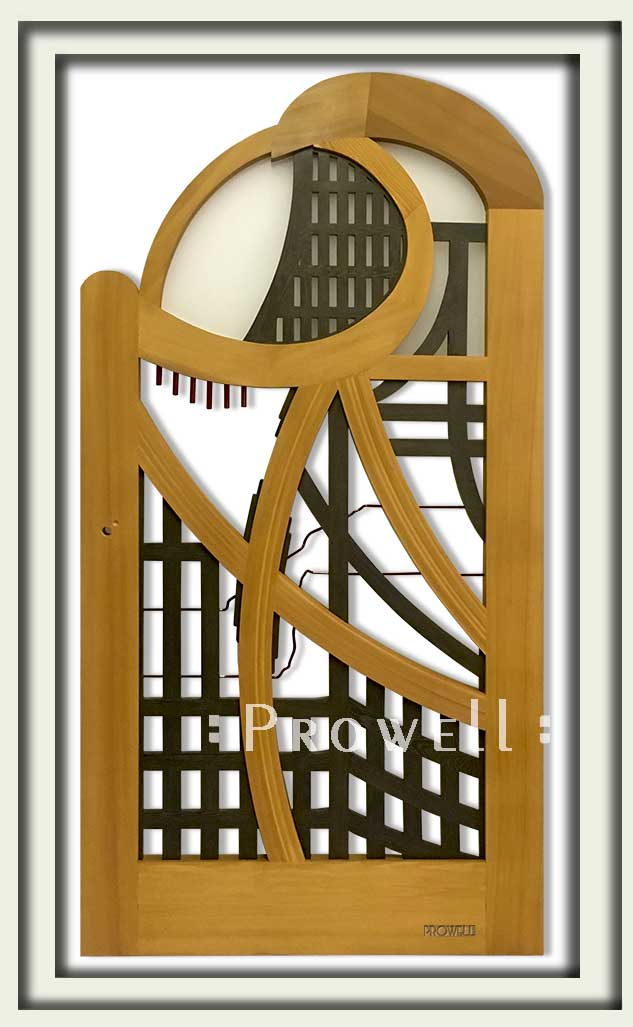 cropped photo showing the artistic wood gates #200-A in Santa Barbara, CA