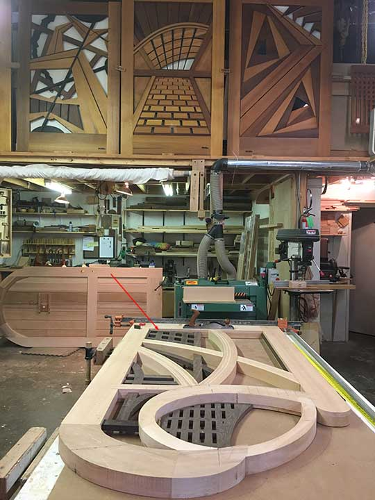 shop photo showing Ben Prowell's step-by-step process for building wood gate #200A