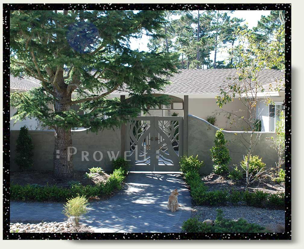 site photo showing eccentric garden gates #204 in Pebble beach, California