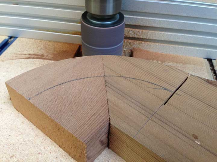 shop photograph showing how to cut the vanishing ovals of modern wood gate 206