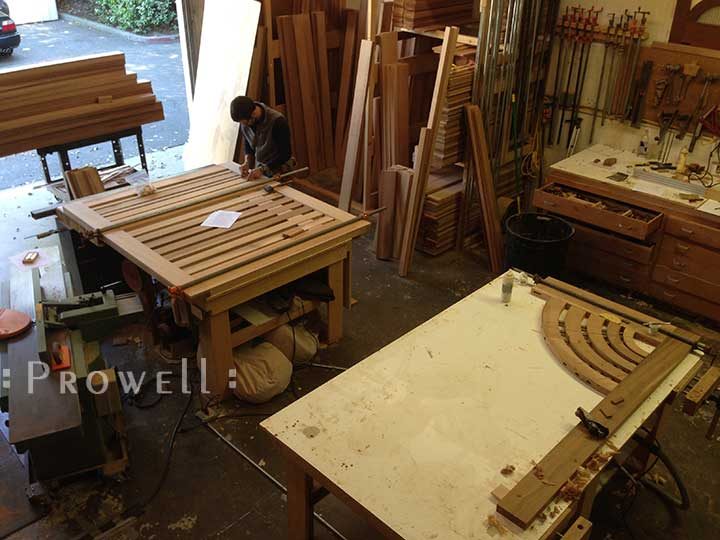 Progress photograph in the wood shop on how to build the contemporary garden gate #206