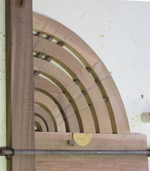 shop photograph showing the partial sunburst garden gate illusion for #206