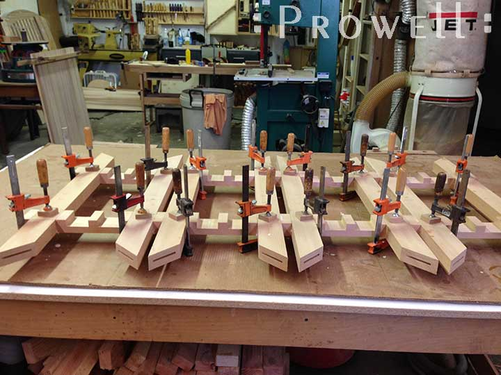 shop progress photograph showing the assembly stage for the postmodern gate design #207