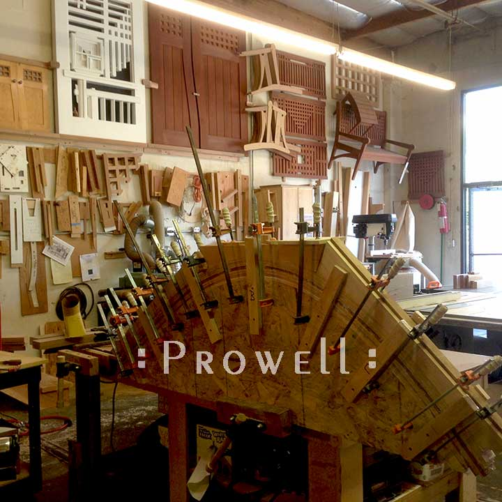 shop photograph showing the progress of gluing up bent laminations for the spectacular gate designs #209.