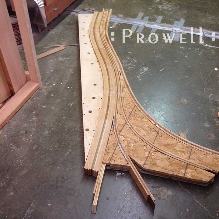 In-progress shop photograph showing how to build the unusual gate #209.