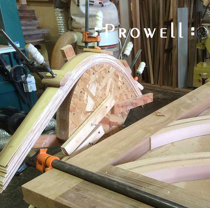 shop progress photograph showing the smaller radius for the unusual gate #209. How to build a wood gate