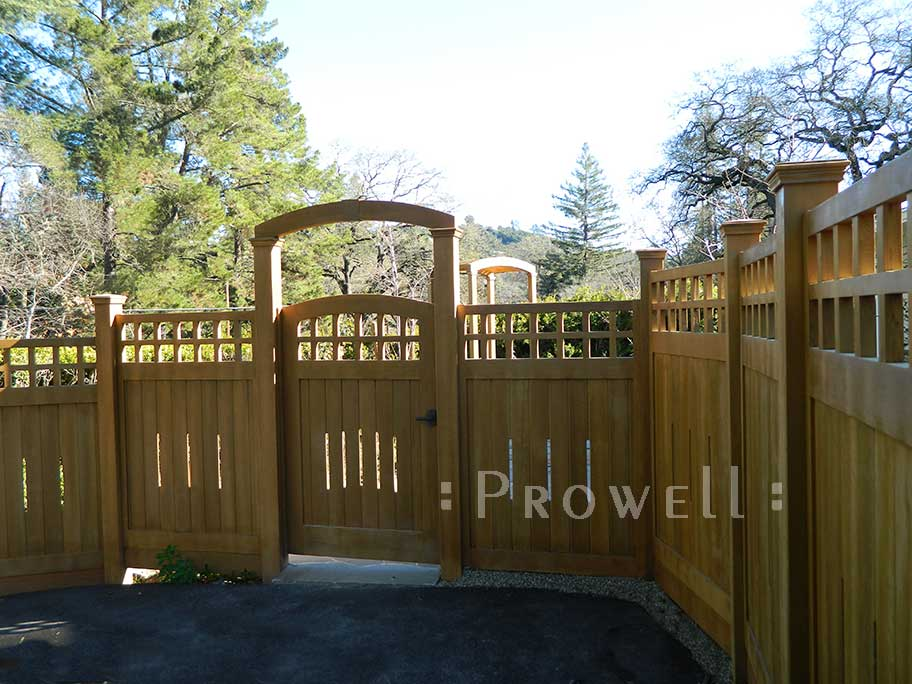 A view of curved garden gate 20-24 with fence panels #1 in san francisco bay area